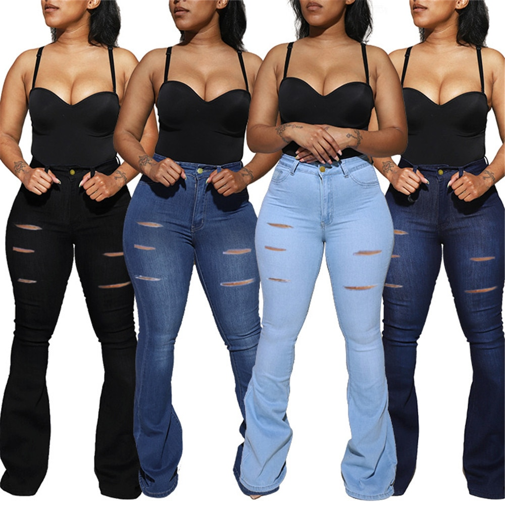 Oversized slim flared pants high waist jeans hot selling women's flared pants women's casual jeans straight flared pants