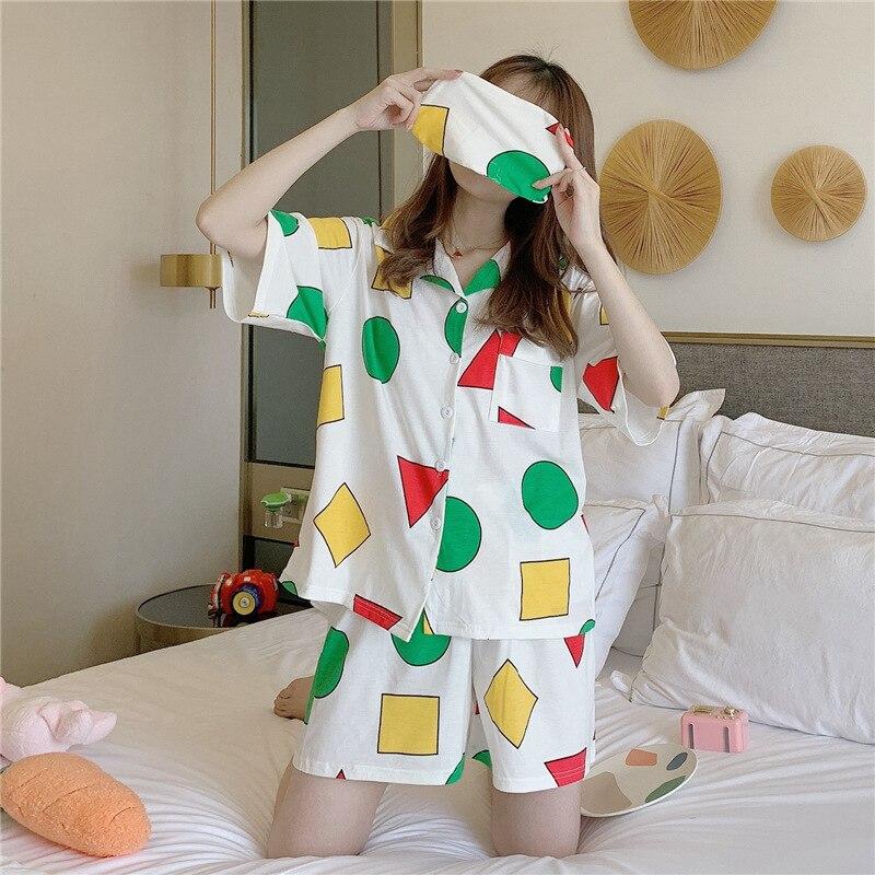 Conjunto de ropa de dormir de verano para mujer talla grande estampado geométrico ropa de casa Crayon Shin Chan pijama suelto lindo 3 uds Camisa + Pantalones cortos + Blinder S968