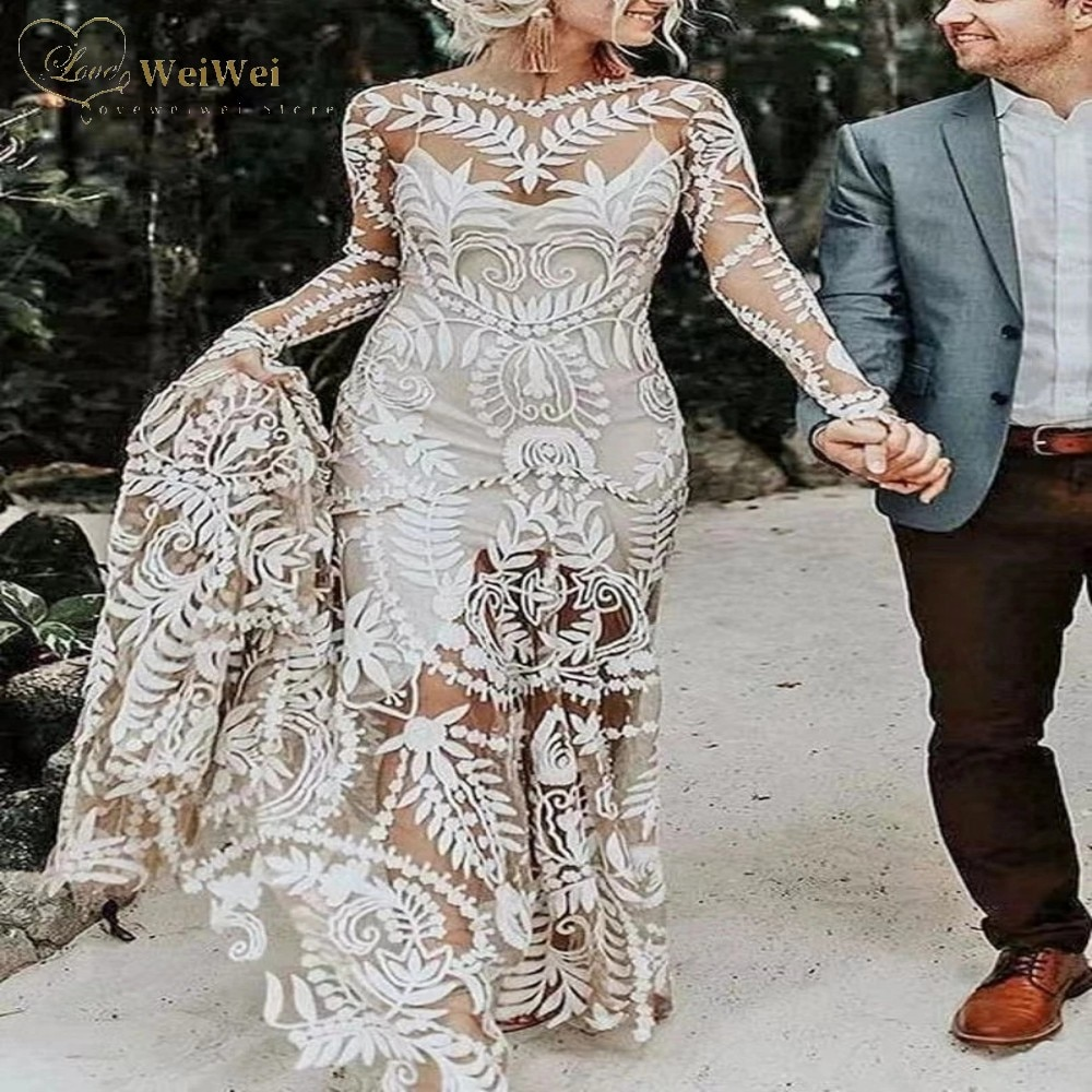 Review 2021 New Designs Champagne Wedding Dress Sexy Two Piece Long Sleeve Sweep Train Open Back Lace Bridal Gowns Cвадебное платье