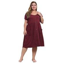 WHZHM Black Plus Size 3XL 4XL Dress Women Casual Pockets Pleated Vintage O-Neck Red A-Line Party Beach High Cotton Dress Women