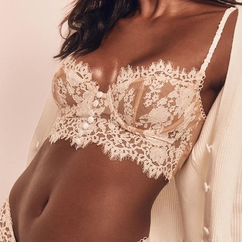 Sexy Lingerie French Women's underwear Mesh Cutout Lace Flower Embroidery Bralette Bra Comfort Push up Eyelash Female Underwear
