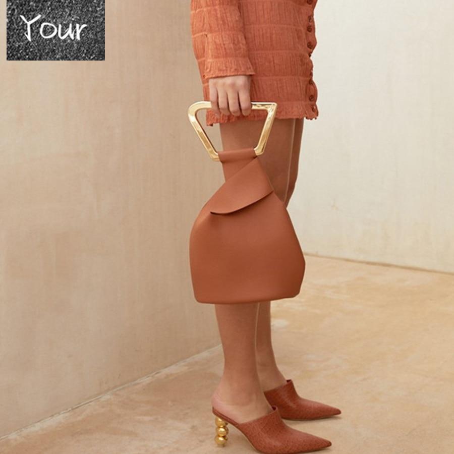 Fashion Acrylic Handle Women's Handbags Designer Brand Female Tote Luxury Pu Lady Hand Bags Summer Irregular Bucket Bags Purses