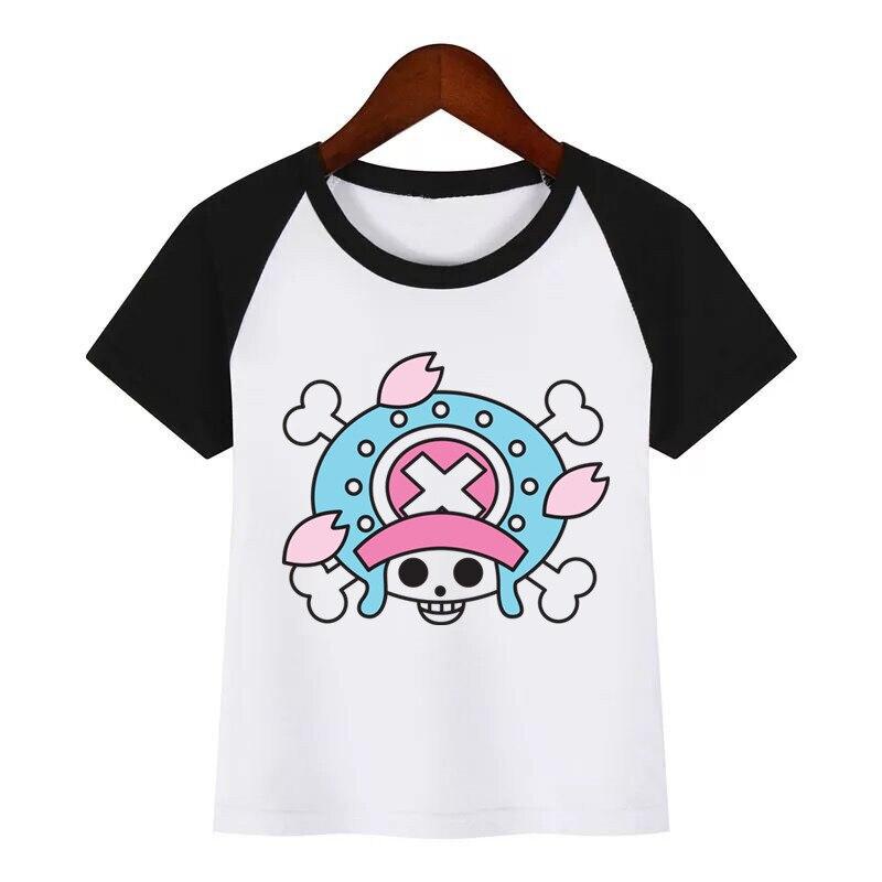 Kids Cartoon  Jolly Roger O-Neck T Shirt Tees Summer Fashion Tops Children girl T-Shirt Boy/Girls Clothing