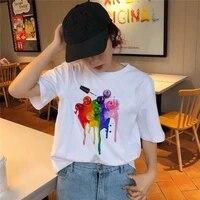 women t shirt 3d nail polish printed female tshirt cute printed top female harajuku graphic t shirt o neck aesthetics tshirt