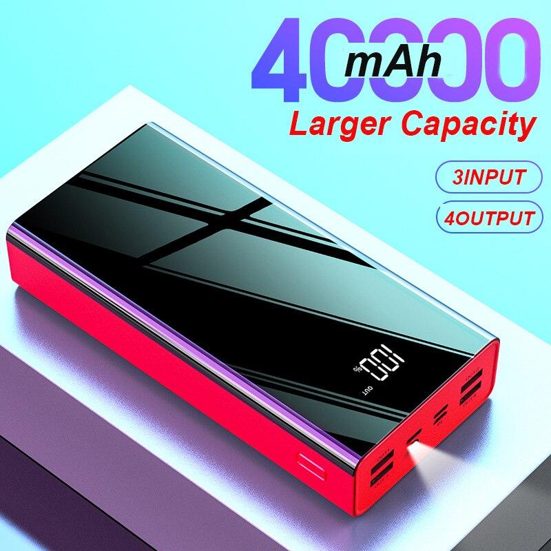 40000 mah espelho power bank display digital led powerbank 2.1a carregamento rápido 4 saída usb carregador de telefone para telefone inteligente poverbank