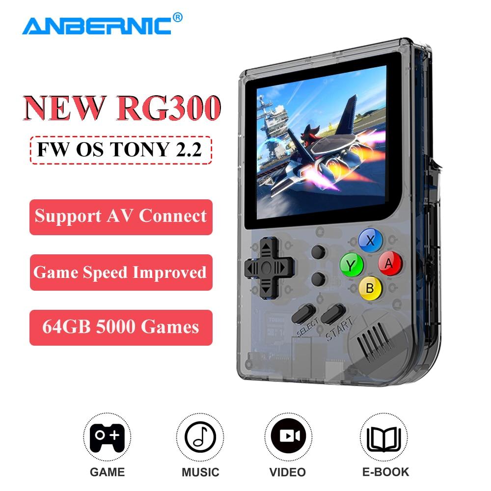 ANBERNIC-Consola de juegos Retro RG300, pantalla IPS, 5000 videojuegos, 64G, FW OS,...