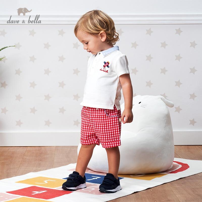DBS12657 dave bella summer baby boys fashion cartoon plaid clothing sets kids handsome short sleeve sets children 2 pcs suit