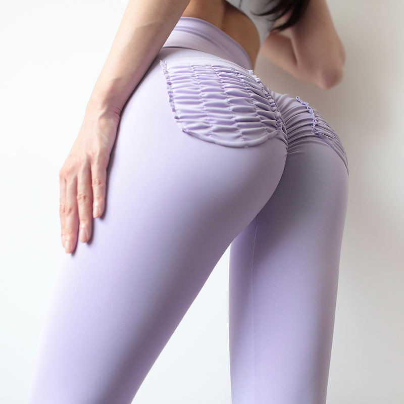 Stylish Solid Color High Waisted Gym Leggings Custom Spring 2021 Women Scrunch Butt Yoga Pants With Pocket