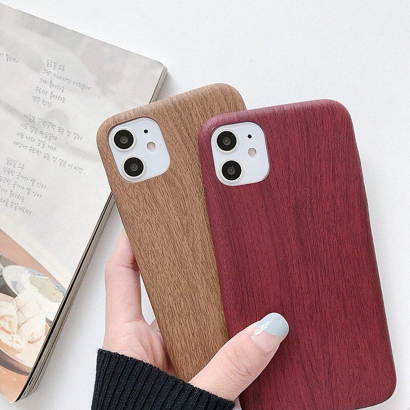 Funda para iphone 11 MAX X XR 8 7 6 Plus funda ultrafina imitación de madera fundas de teléfono para iphone 11 pro Max