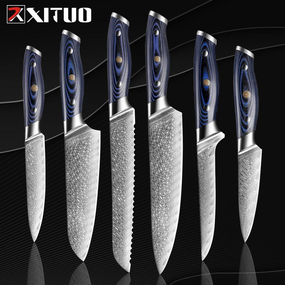 XITUO 2-6 قطعة السكاكين مجموعة دمشق سكين الطاهي شارب اليابانية Sankotu الساطور Boning Gyuto سكين المطبخ G10 مقبض أداة الطبخ