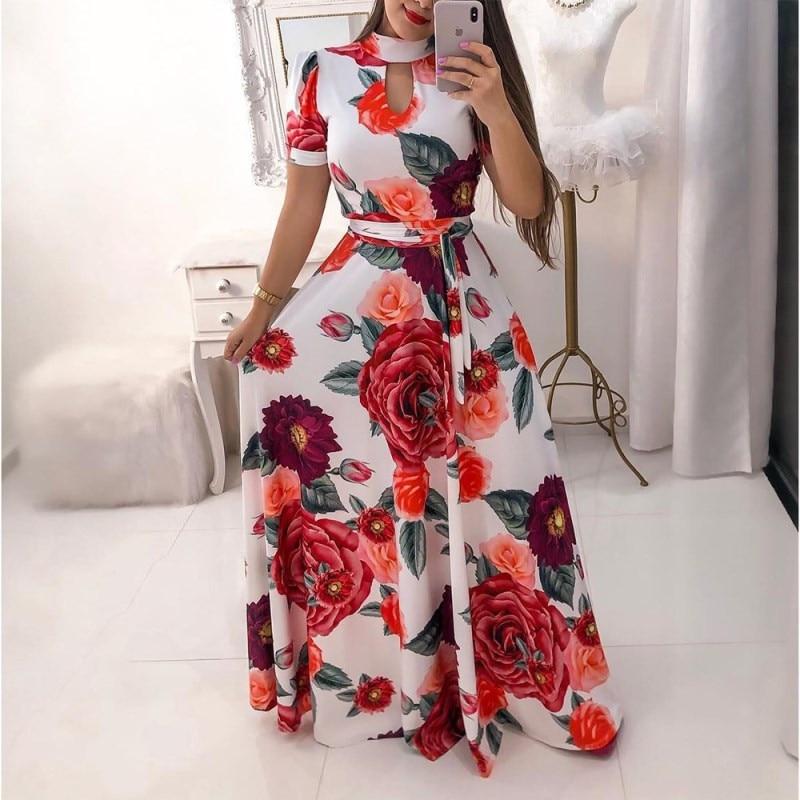 Женское платье с цветочным принтом в стиле бохо, летнее Повседневное платье-туника большого размера 2020