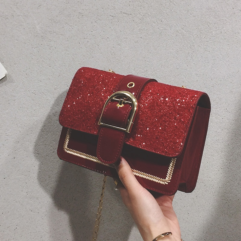 High Quality Small Bag Women's 2021 New Fashionable Korean Style Versatile Crossbody Pouch Sequined