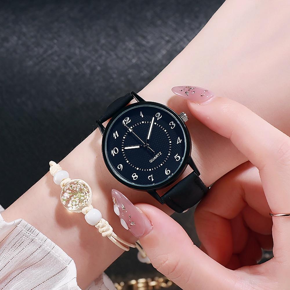 Classic Women's Casual Quartz Leather Band Strap Watch Round Analog Clock Wrist Watches Luminous Han