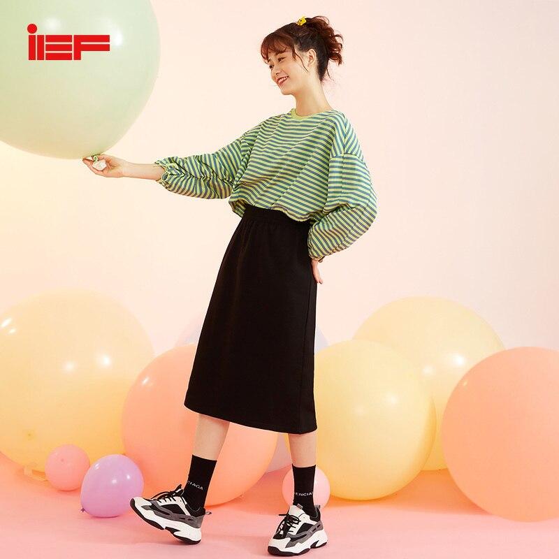 Ief primavera verão cintura alta magro um padrão saia feminina cor pura meados longo estilo saia 0n15a-d7032-