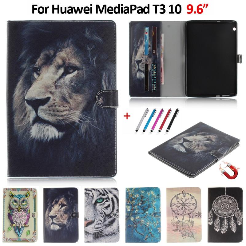 "Funda para Huawei Mediapad T3 10, Funda de moda de 9,6 ""con Panda, León, Tigre, Funda pintada para Huawei T3 10, Funda + regalo"