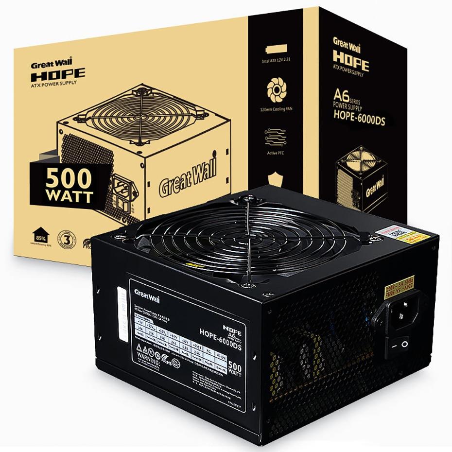 HOPE-6000DS الجدار العظيم 500 واط جهاز كمبيوتر شخصي SATA الألعاب امدادات الطاقة إنتل AMD وحدة المعالجة المركزية الكمبيوتر امدادات الطاقة ATX