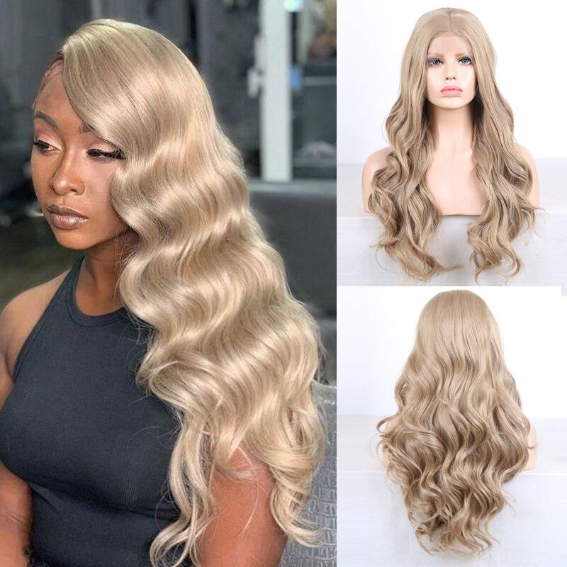 Peluca de pelo de fibra resistente al calor peluca frontal de encaje sintético ondulada larga para mujer