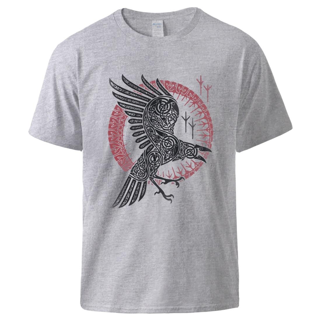 Viking legend Ragnar's Raven Tshirt Man Casual Sportswear Cool Short Sleeve Top 2020 Man High Quality 100% Cotton Loose Tshirts