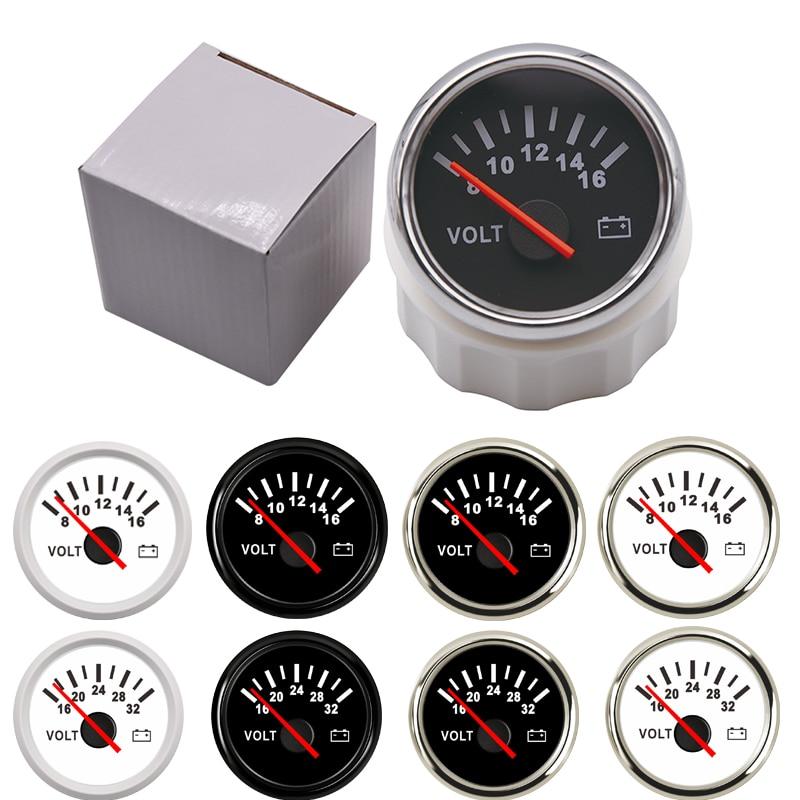 52 mm medidor marinho do voltímetro medidor de volt medidor medidor de volt 8-16 volts 16-32 volts calibres de tensão do carro para a motocicleta do barco da caravana