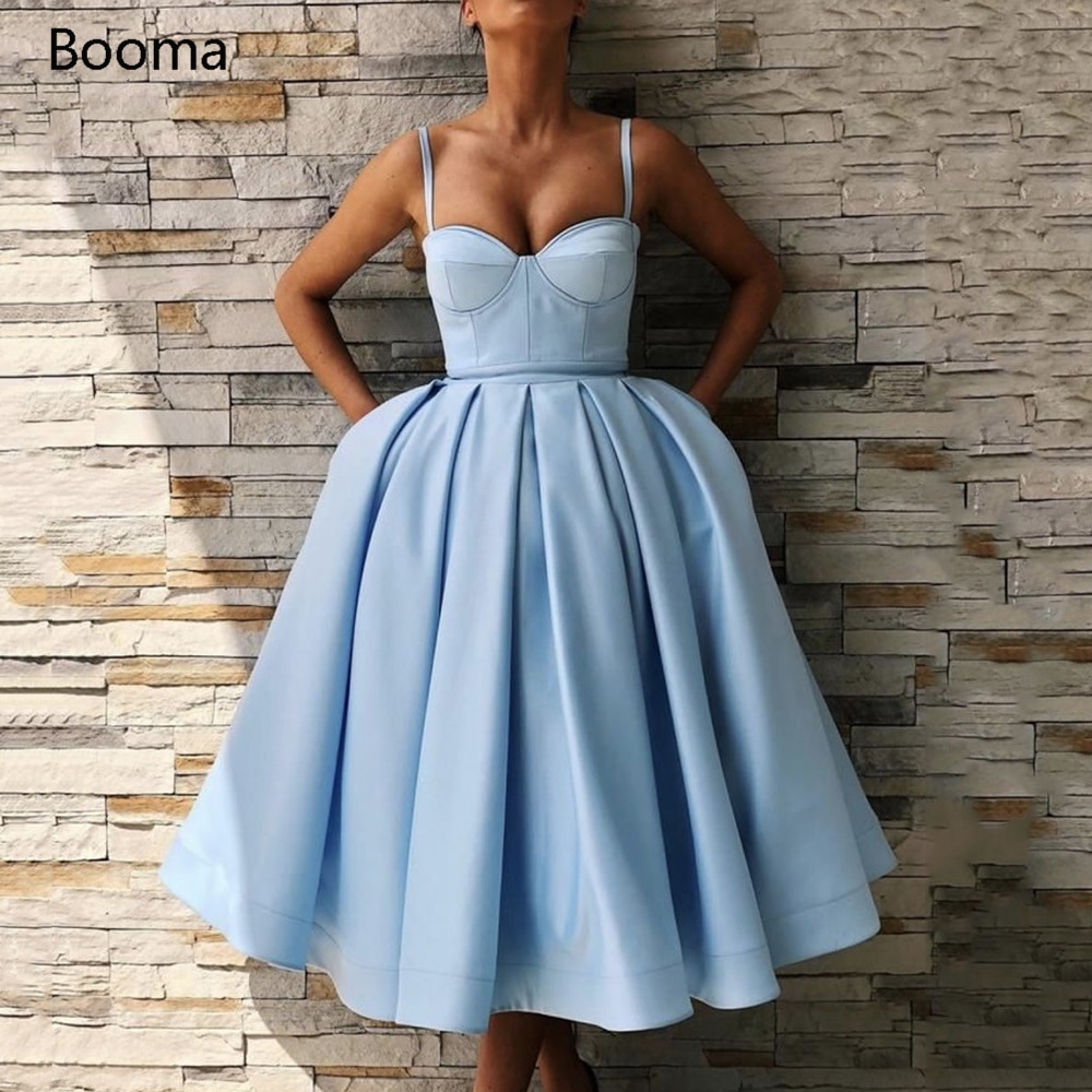 Elegant Blue Short Homecoming Dresses Sweetheart Spaghetti Straps Satin Party Dresses Knee-Length Pleated A-Line Prom Dresses