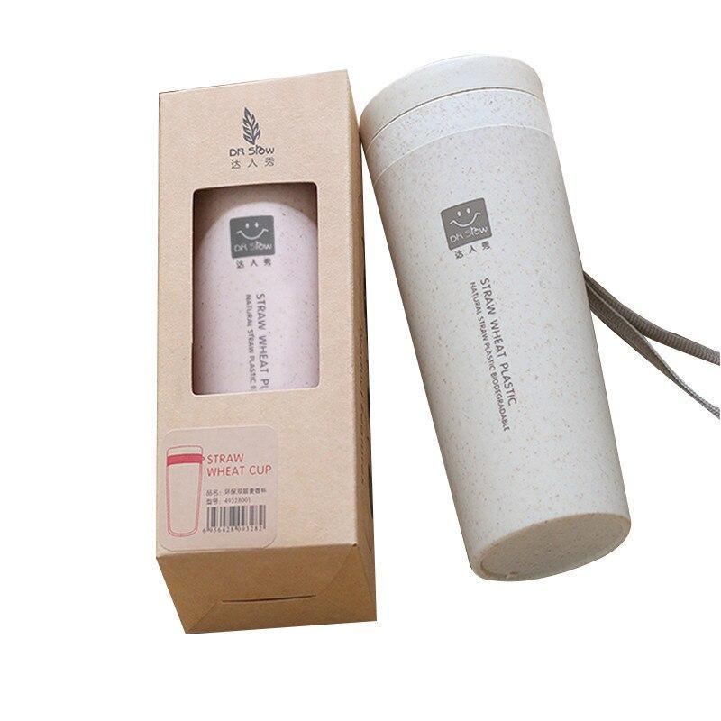 Heißer verkauf bpa-freies 300ml milch tee tasse NATÜRLICHE Grüne Weizen Stroh KUNSTSTOFF BIOLOGISCH ABBAUBAR tragbare Trinken kaffee becher mit seil
