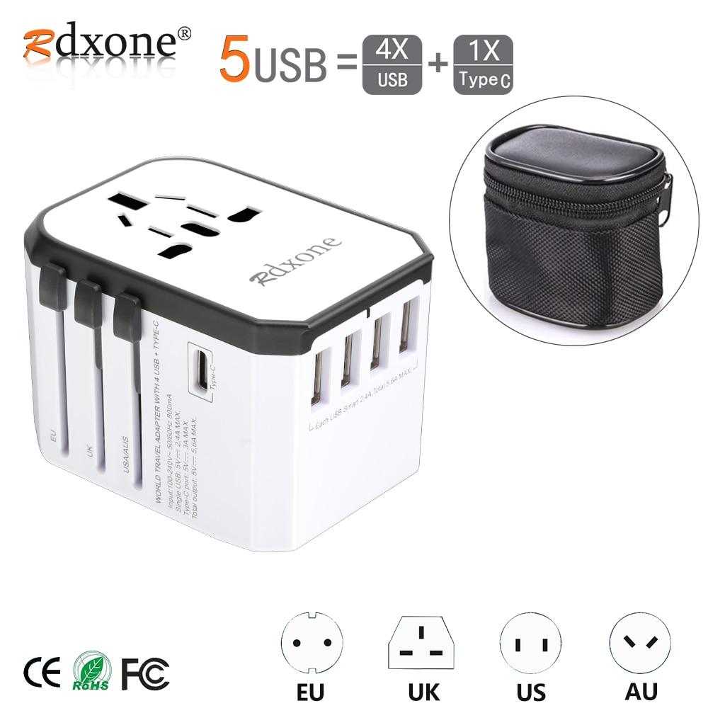 Adaptador de viaje Rdxone adaptador de corriente Universal cargador adaptador mundial convertidor de enchufes eléctricos de pared para teléfonos móviles