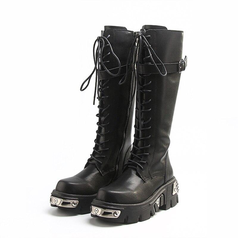 2021 جديد لينة جلد النساء الركبة أحذية عالية سميكة كعب منصة أحذية السيدات فارس التمهيد الدانتيل يصل طويل بوتاس موهير