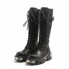 2020 nouveau cuir souple femmes genou bottes talon épais plate-forme bottes dames chevalier botte à lacets longue Botas Mujer