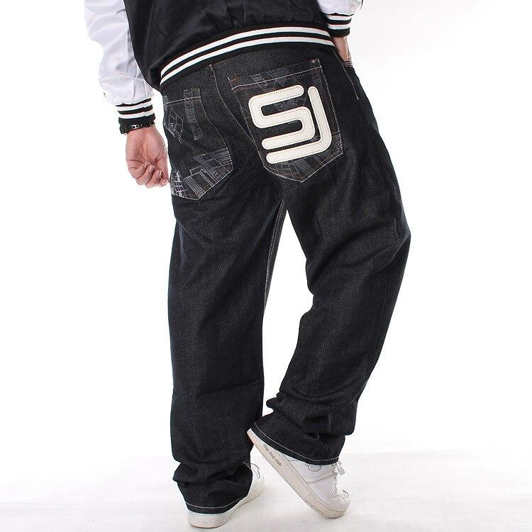 Men's Plus-sized Pants Hip Hop Jeans Hiphop Hip-hop Printed Loose Skateboard Pants Distressed Jeans Brand