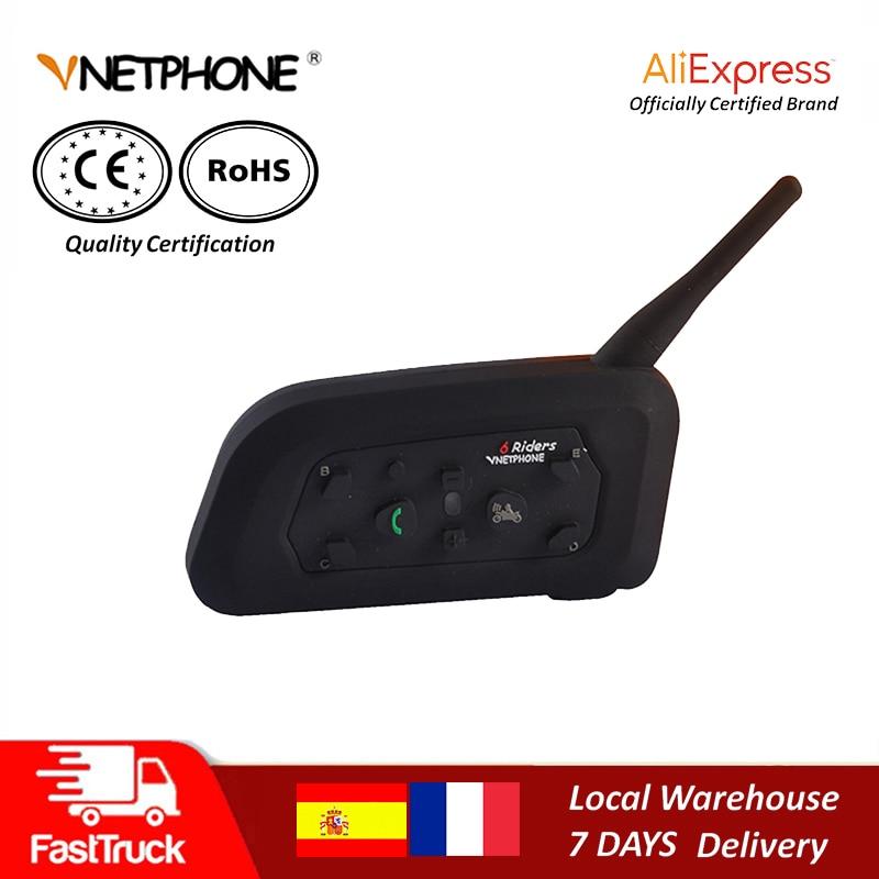 QPLOVE VnetPhone V6 1200m Bluetooth casco intercomunicador inalámbrico que habla 6 Riders conexión 100 horas en espera accesorios de motocicleta
