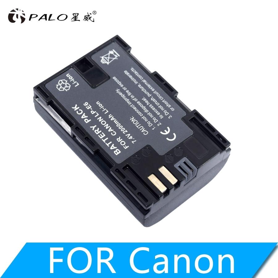 PALO 2000mAh LP-E6 LPE6 Camera Battery For Canon EOS 5D Mark II 2 III 3 6D 7D 60D 60Da 70D 80D DSLR EOS 5DS lp e6 Dropshipping