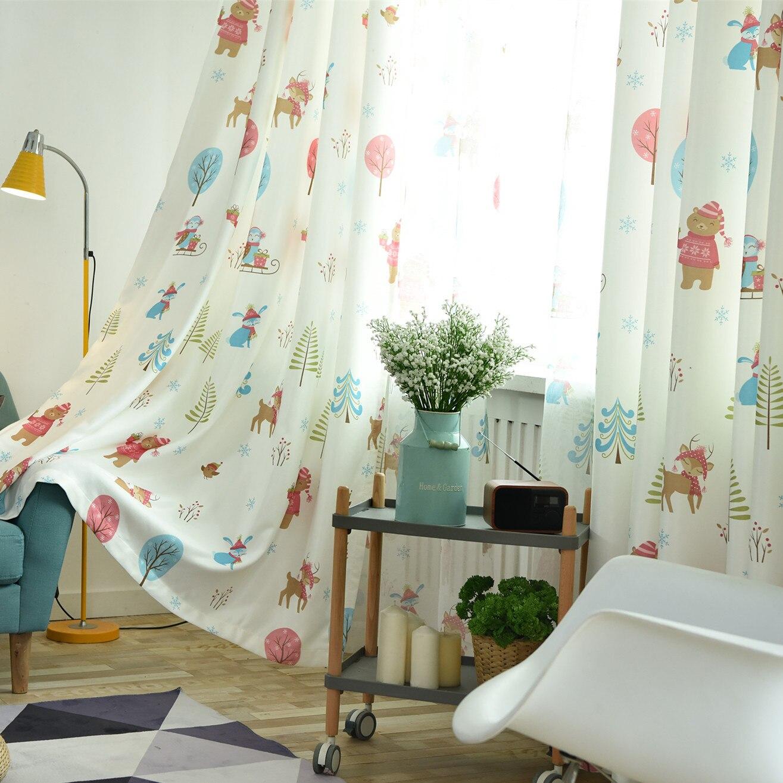 Christmas Curtain Tree Nordic Curtains for Living Room Floor Half Blackout Curtain Tulle Simple Modern Bedroom Curtain Cloth