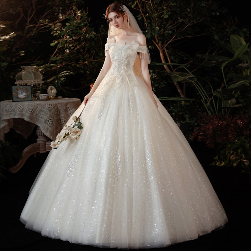 Promo French Main Wedding Dress New Bride's Wedding One Shoulder Star Sky Super Fairy Dream Forest Department Goes Out Together