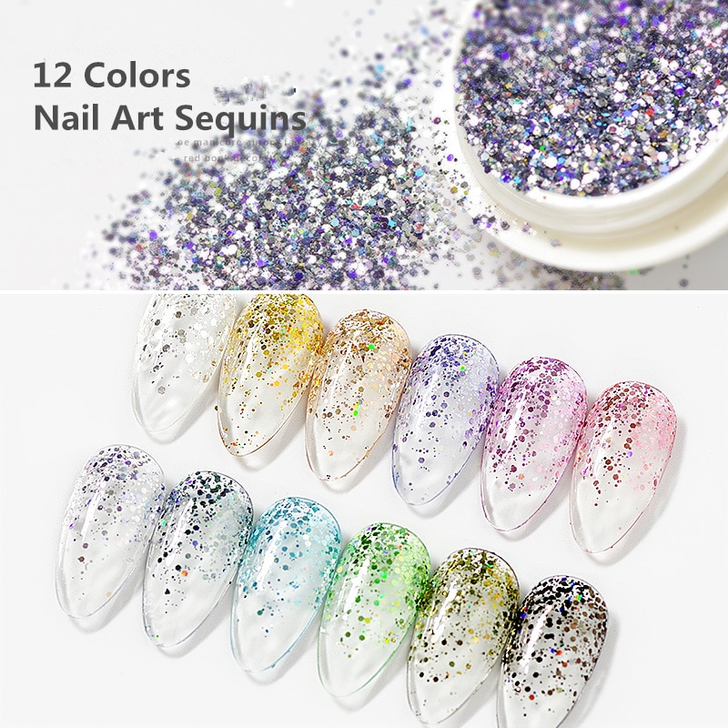 1 Box Sparkles Nail Glitter Mix Nail Art Powder Sequins Flakes Set Mermaid Holographic Decorations Manicure Chrome Pigment