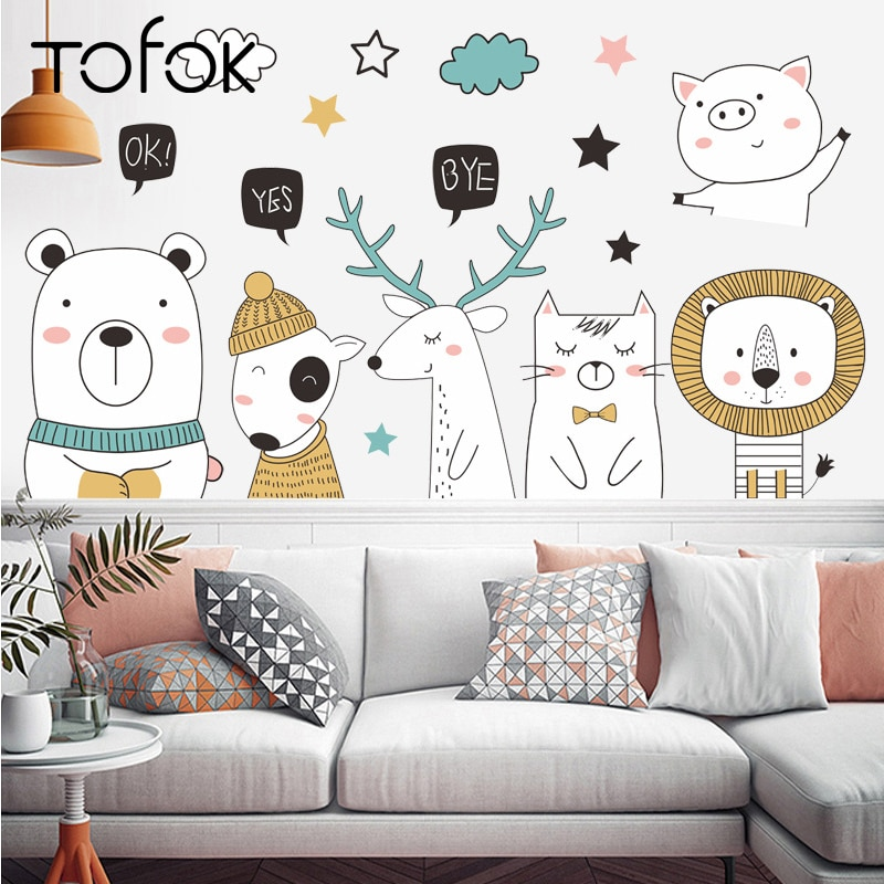 Tofok DIY Lovely Animal Bear Deer Wall Sticker Home Door Children Room Nursery Decals Living Room Sofa TV Background Decoration