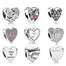 Nouveau 100% véritable 925 en argent Sterling coeur forme breloque perle handsel amour cadeaux idéal pour Bracelet bracelet à bricoler soi-même usine en gros