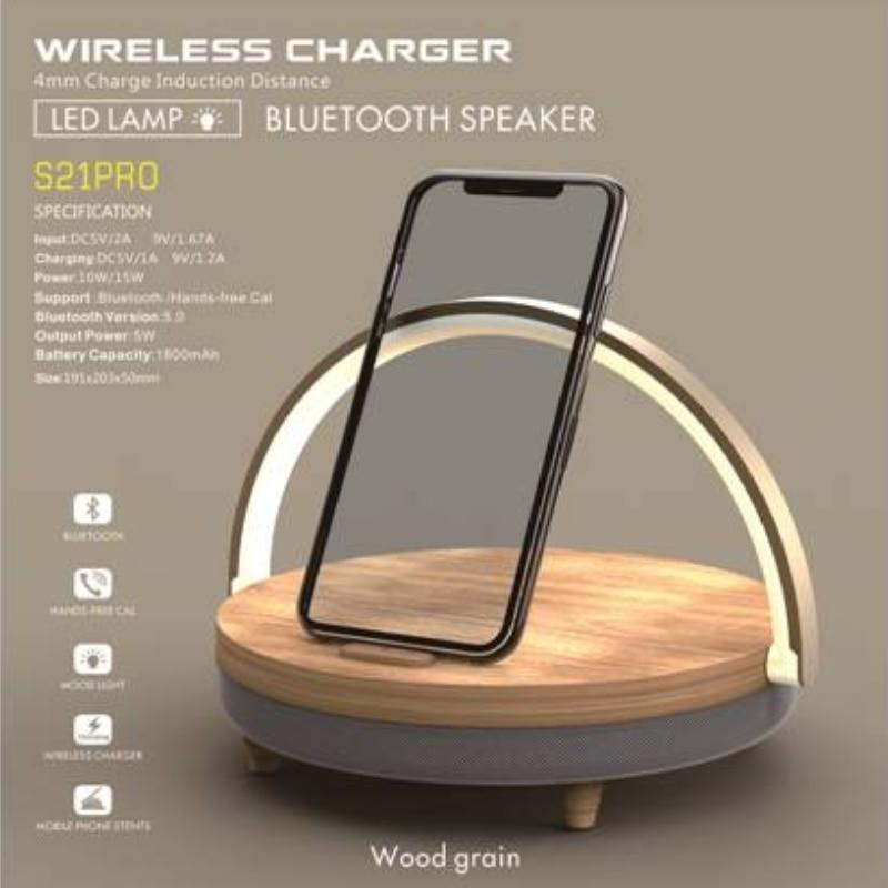S21 برو بلوتوث المتكلم الخشب اللاسلكية شاحن LED مصباح آيفون x المتكلم حامل حامل 10 واط عالية الطاقة شحن سريع حامل