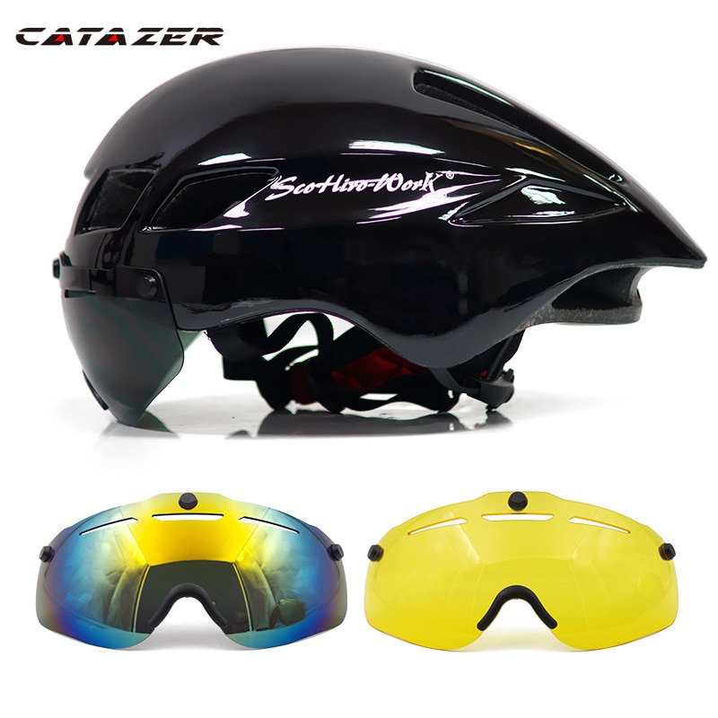 Casco de bicicleta nueva con gafas 4 colores ultraligero MTB Casco de...