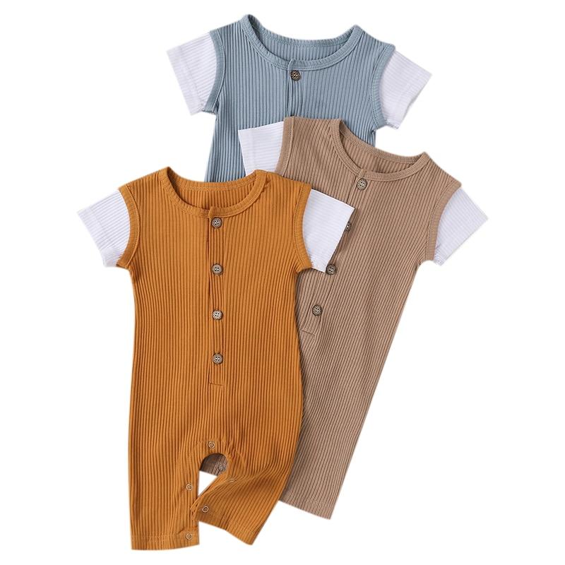 Newborn Baby Boys Button Short Sleeve Romper Splicing wooden Bodysuit Clothing For Summer 0-24M