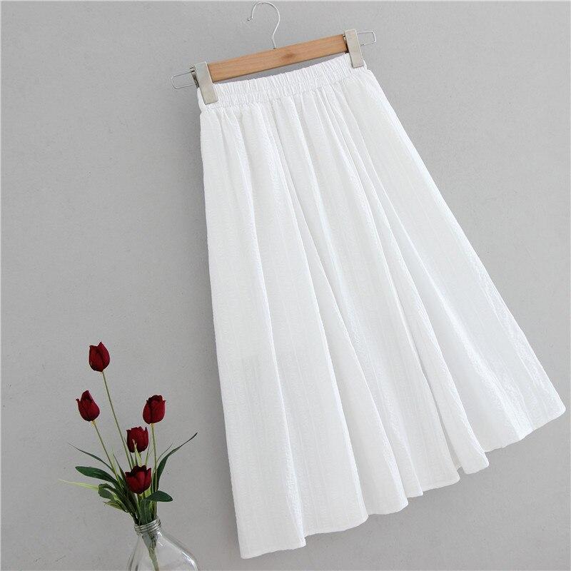 2020 novo estiramento de cintura alta verão feminino midi comprimento saias de algodão branco jacquard saia boho linha a faldas jupe femme