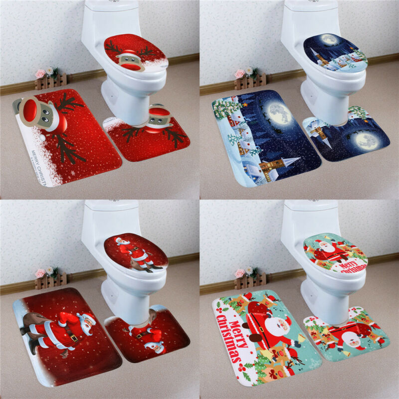 Universal Navidad 3D Santa más lejos elfo asiento del inodoro cubierta Pedestal alfombrillas de alfombra de baño Set /BY