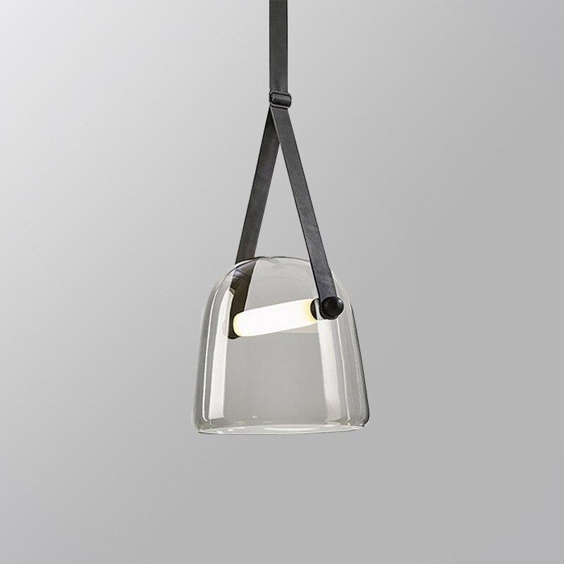 مصباح زجاجي معلق من الجلد على الطراز الاسكندنافي ، تصميم نورديك ، إضاءة داخلية مزخرفة ، مثالي لغرفة المعيشة أو غرفة النوم أو المطبخ.