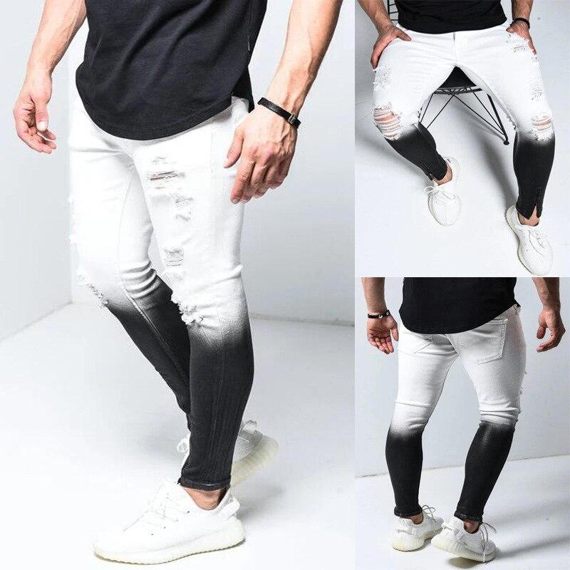 Рваные джинсы с градиентом цвета, мужские повседневные зауженные джинсы, мужские узкие джинсы, Мужские брендовые байкерские брюки в стиле х...
