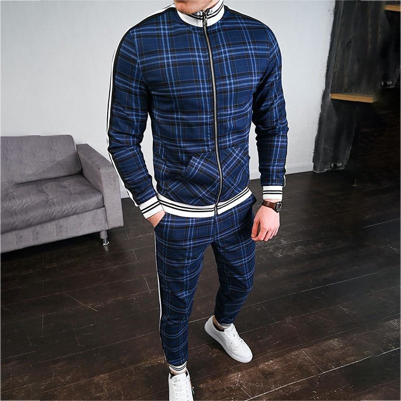2 Pieces Sets Plaid Tracksuit Men New Brand Autumn Winter Sweatshirt +Drawstring Pants Male Stripe Patchwork Fitness Male