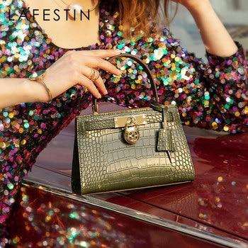 LA FESTIN Designer Handbag for Women 2021 New Fashion Luxury Shoulder Top-handle Bags Crocodile Pattern Leather Messenger Bag