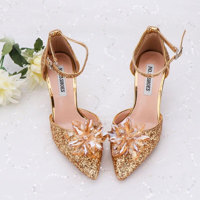 Sandalias de fiesta, zapatos de mujer brillantes con flores de cristal dorado con lentejuelas, zapatos de tacón medio de 6cm, zapatos de chica brillantes para vestido de noche y fecha