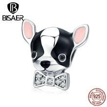 BISAER nouveauté 925 argent Sterling Chihuahua pendentifs à breloque clair CZ pour les femmes Bracelet à breloques bijoux à bricoler soi-même faisant GXC1310