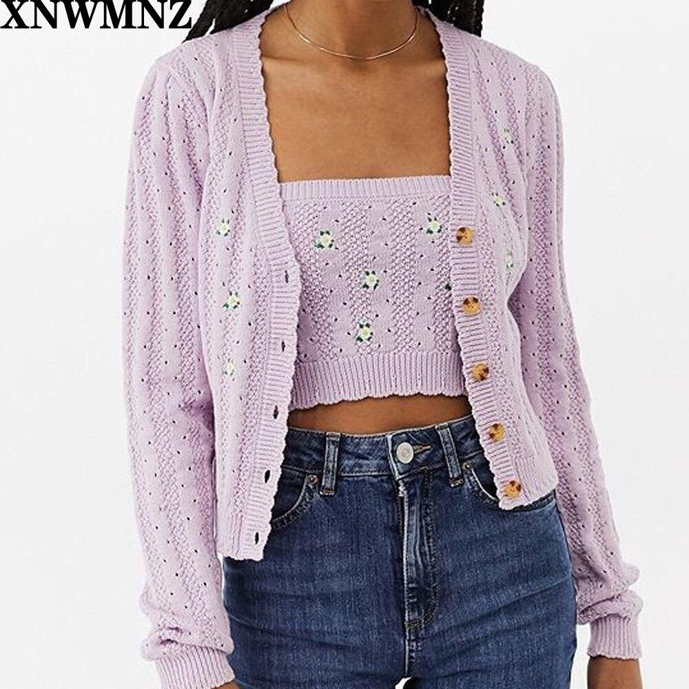 XNWMNZ za Women Button Through Crop Pointelle embroider Knit Cardigan Open Stitch Knit Cardigans wave pattern open knit jumper