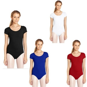 Custom Plus Size Scoop Neck Full Length Spandex Black Women Short Sleeve Unitard Tights Gymnastics Footless Dancewear Costume