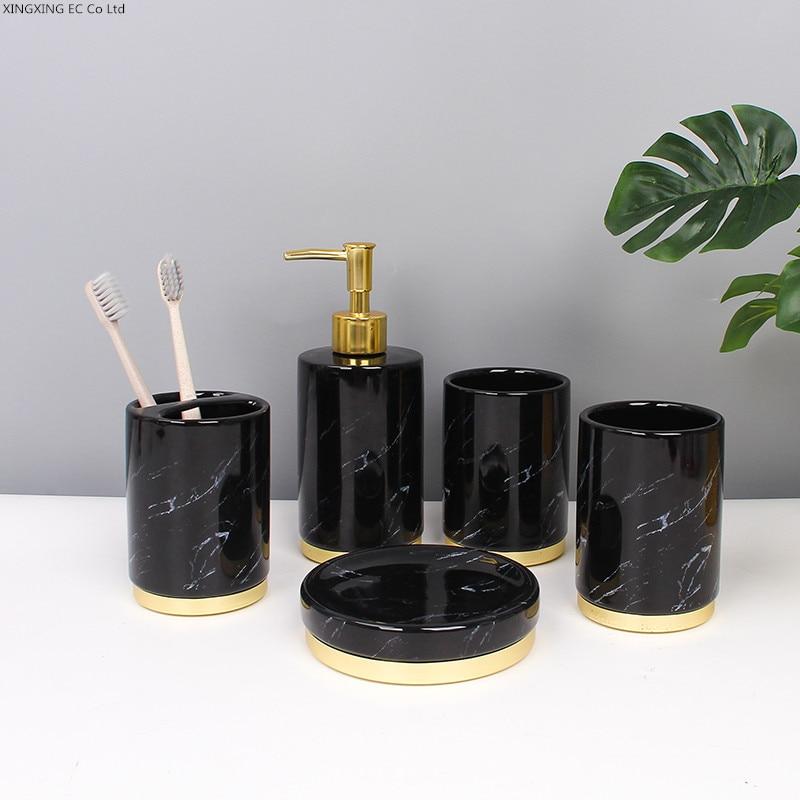 Black Gold Marble Bathroom Supplies Toothpaste Dispenser Ceramic Lotion Bottle Toothbrush Holder Cotton Swab Box Storage Tray